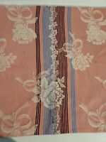 2 1940-50's Vintage Barkcloth Panels Floral ~ Pink White Roses Stripes burgundy