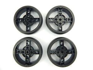 4x New Genuine Black Lego Technic wheel with black tyre 56 x 14 part 39367