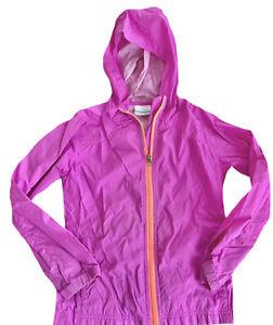 Girls Columbia Rain Jacket Spring Jacket Hooded Pink Purple small