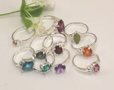 wholesale 10pcs Thick 925sterling solid  Silver mixed cz rings 6-9 Y-27