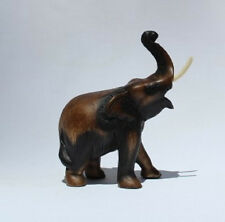 Fair Trade Wooden Elephant Trunk Up 18cm size Handcarved in Thailand