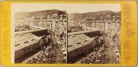 Italia Gênes. Terrasse Marmo Foto Sommer Stereo P8L1n Vintage Albumina Ca 1868