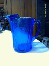 Hazel Atlas Glass Royal Lace Cobalt Blue Straight Side Pitcher 48 oz