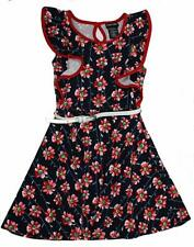 Paper Doll Girls' Dress Navy/Red Floral Sleeveless Butterfly Ruffles 7 - New