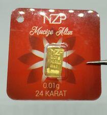1/100 gram 0.01 gram gold bullion bar 0,01 gr 995,0 collectable gift size