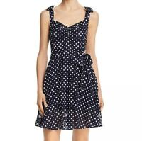 Betsey Johnson Womens 12 Navy Polka Dot Sleeveless Lined Fit Flare Dress NWT