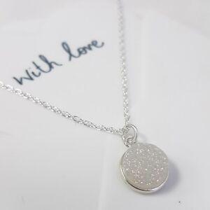 White Druzy Sparkle Pendant Drop Necklace - Sterling Silver