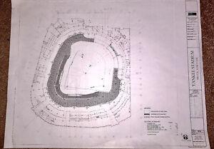 Original Yankee Stadium Blueprint New York Yankees -Ruth - Gehrig -Mantle -Jeter