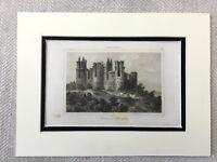 1830 Chateau de Pierrefonds France French Architecture Antique Engraving Print