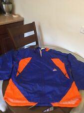 Vintage Adidas Blue Orange Nylon Windbreaker Rain Jacket Medium Good Condition