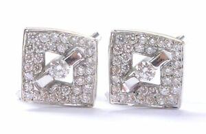Fine Round Brilliant Diamond Tension & Pave Setting Square Huggie Earrings 1.00C