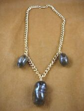 "(PP40-2A) three Real MOOSE POOP doo doo nuggets turds gold 20"" NECKLACE WEIRD"