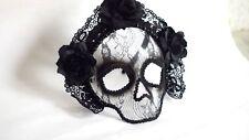 Skull mask The Day of the Dead Masquerade Venetian Black Roses mask Mardi Gras