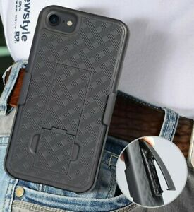 For iPhone 7 & iPhone 8 - Black Hard Holster Kickstand Case Cover w/ Belt Clip