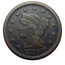 Large cent/penny 1844 overdate 44 punched over 18 collector coin