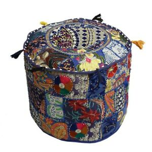 """Indian Handmade 22"""" inches Blue Round Pouf Cover Cotton Patchwork Fabric Decor"""