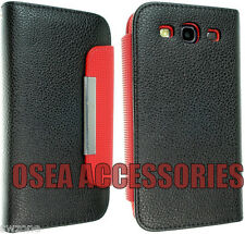 SAMSUNG GALAXY S3 I9300 LEATHER CASE COVER WALLET FLIP POUCH BACK BOOK FREE SP