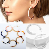 Bohemia Women Acrylic Acetate Alloy Big Circle Leopard  Hoop Earrings Ear studs