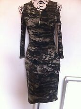 Hot Kiss Midi Dress Cold Shoulder Camouflage Ladies Size M(10) New