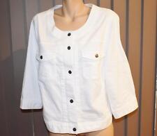 Katies Studio East White Denim Jacket Size 24 No Collar-3/4 Sleeve
