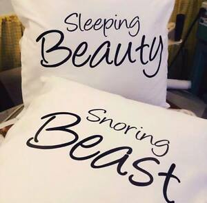 Sleeping Beauty Snoring Beast, funny pillow cases/cushion covers,bedroom, Mr&Mrs