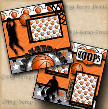 BASKETBALL 2 premade SCRAPBOOK pages paper piecing  LAYOUT boy DIGISCRAP #A0078