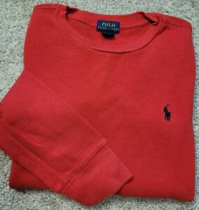 New! POLO RALPH LAUREN-Red Thermal Knit Cttn, Youth Cold Weather Shirt-M (10/12)