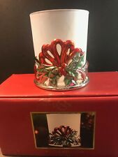 """Lenox Winter Greetings Tea Light Candle Holder 4"""" Holly & Bow"""