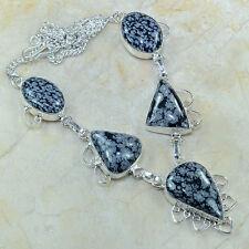 Natural Artesanal Obsidiano Copo De Nieve Plata de ley 925 Collar 46.4cm b17623
