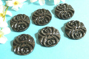 """323BISC Stunning Buttons Vintage """" Engraving """" Grey Lot Of 6 Buttons ÉP.1950"""