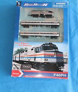 """RailRoadN"" New-Ray Toys Co  F40 PH Amtrak Toy Train Set – N Scale"