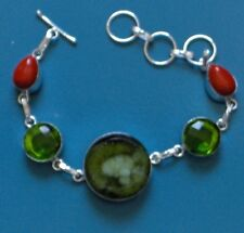 "UNIQUE GREEN DRUZY, PERIDOT CORAL 7-9"" 925 SILVER PLATED BRACELET, LOVELY UNIQUE"