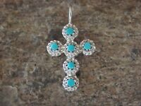 Zuni Indian Jewelry Sterling Silver Turquoise Cross Pendant - Naktewa