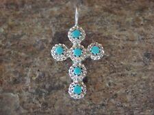 Zuni Indian Jewelry Sterling Silver Turquoise Cross Pendant - Naktewa