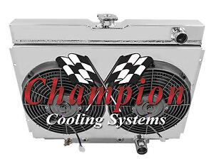 1967-1970 Ford Mustang All Aluminum 3 Row KR Champion Radiator Fan Shroud Combo