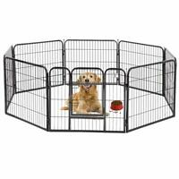 "BestPet 32"" 8 Panel Folding Metal Dog Exercise Fence Heavy Duty Pet Playpen"
