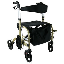 Rollator Wheelchair Foldable Walker Walking Frame Mobility Aid Indoor Outdoor