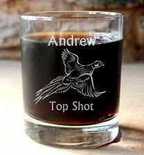 More details for personalised pheasant shoot, hunting shooting gift whisky tumbler. optional box.