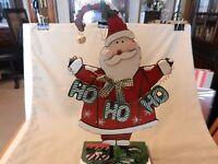 "Jolly Santa Claus Wooden Figurine Ho Ho Ho with Present 13.5"" Tall"