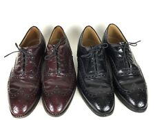 Lot of 2 Aristocraft Johnston Murphy Black and Brown Wingtip Oxford Shoes 9.5