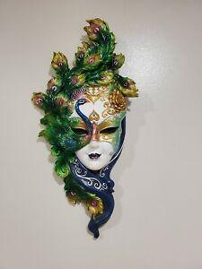 Venetian Style Resin Mask Wall Decor Peacock Carnival Artist Gabriella Veronese