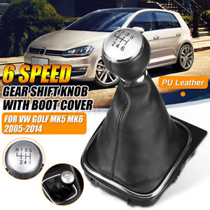 6 Speed Shift Gear Knob Gaiter Boot Cover Leather For VW Golf MK5 MK6 2005-2014