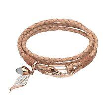 Unique & co Ladies Tan Leather Quartz and Zirconia Wrap Around Bracelet