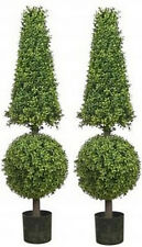 Two 50 inch Artificial Boxwood Cone Ball TopiaryTrees Outdoor Plant Arrangement