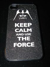 Dart Vader Helmet Cover Case for iPhone 4 4s Keep Calm And Use the Force Black
