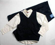 NWT boys size 7 GYMBOREE ivory shirt navy blue sweater vest & cords FREE SHIP!!!