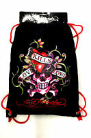 "NWT ED HARDY DREW ""LOVE KILLS SLOWLY "" DRAWSTRING BAG BLACK STY#EB06DRWLKS"