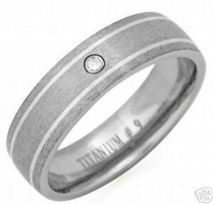 Gent's Titanium Ring With Genuine Diamond