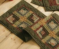 """TEA CABIN Quilted 36"""" Table Runner Primitive Green Rustic Lodge VHC Brands"""
