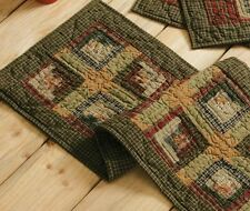 """Tea Stain Log Cabin Quilted Primitive 48"""" Table Runner Green Placemat Rustic VHC"""